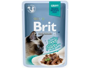 Brit Premium Cat Pouch with Beef Fillets in Gravy for Adult Cats