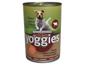 yoggies hovezi konzerva pro psy s karotkou a lnenym olejem 400g