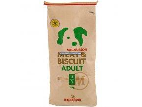 Magnusson Meat and Biscuit Adult 14kg natržený obal, granule jsou přesypány do barelu