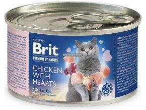 konzerva Brit Cat Premium Chicken Hearts