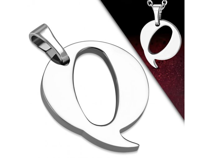 Přívěsek z chirurgické oceli - Písmeno Q