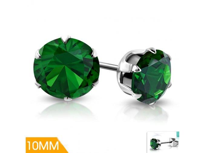 Náušnice pecky se zeleným krystalem XRY546