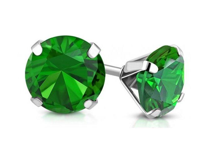 Náušnice zelený krystal - puzetky