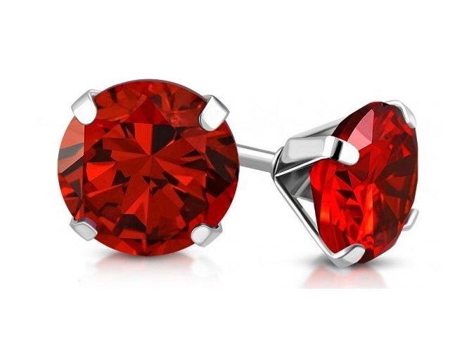 Náušnice červený krystal AEH035