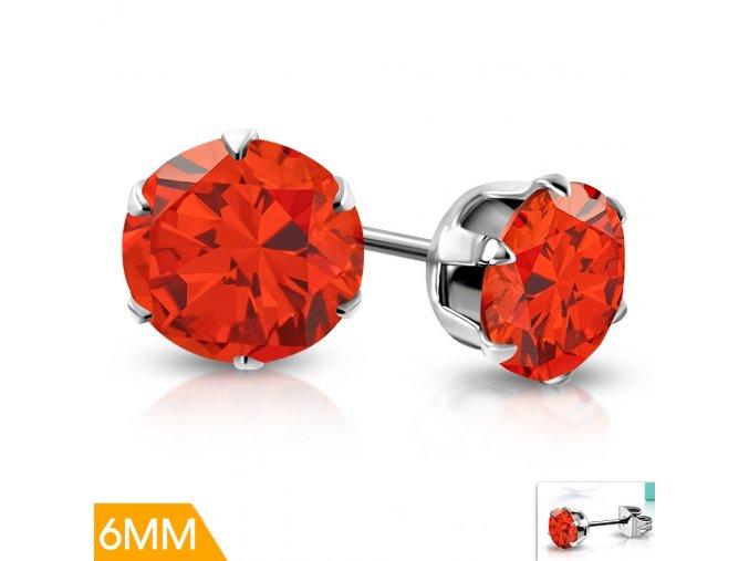 Dětské náušnice s červeným krystalem XRY419