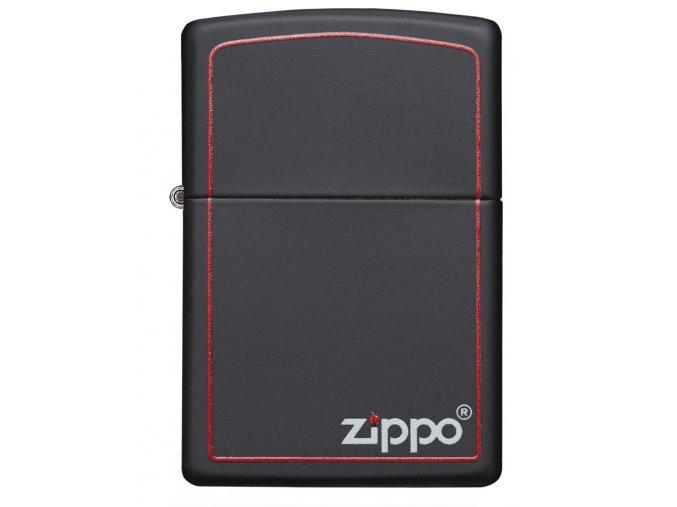Zippo Black Matte with Zippo & Border 26117