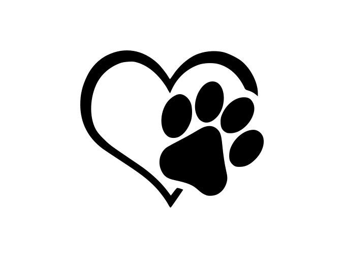 Samolepka - psí Tlapka v srdci
