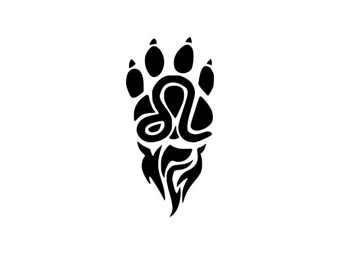 Samolepka - Psí tlapka s plamenem