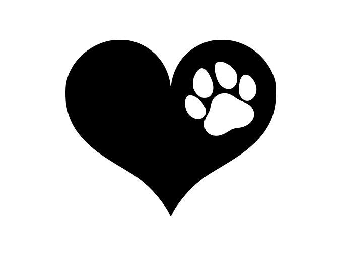 Samolepka - Srdce a v něm tlapka