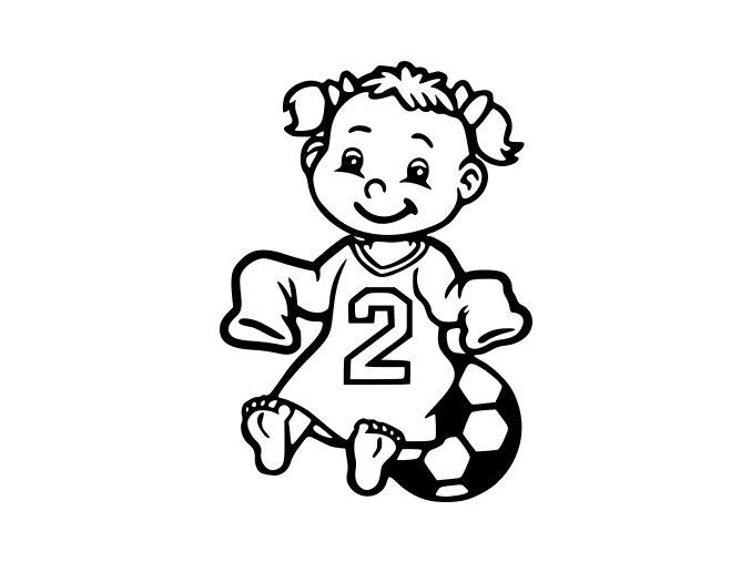 Samolepka - Fotbal - miminko holčička fotbalistka