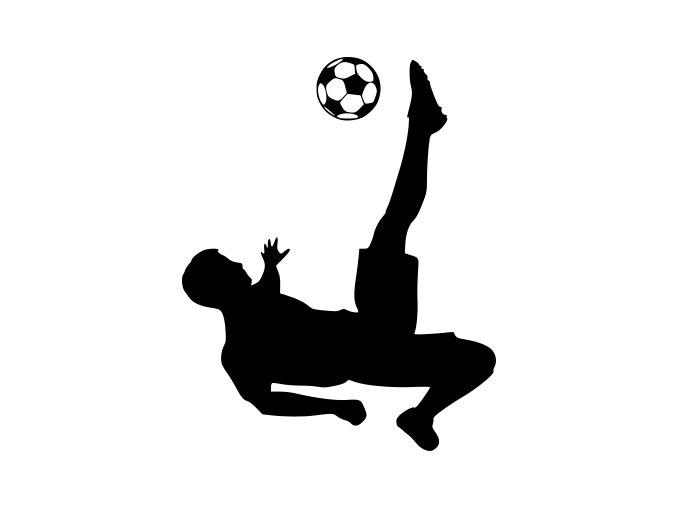 Samolepka - Fotbal - fotbalista Útočník v lehu