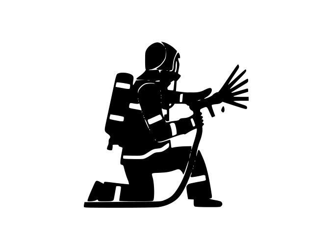 Samolepka - klečící hasič s hadicí