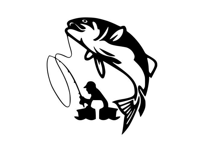 Samolepka - Rybář s úlovkem
