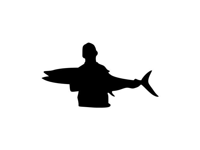 Samolepka - Rybář s velkým úlovkem