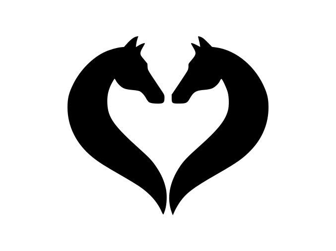 Samolepka - Koně v srdci