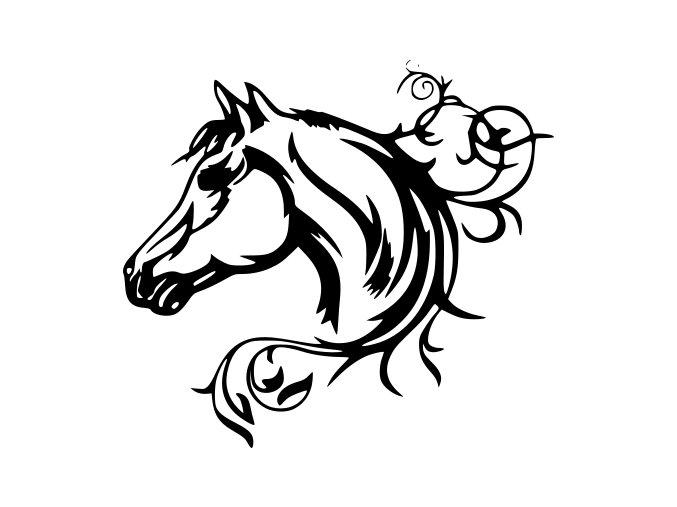 Samolepka - Kůň s květinou