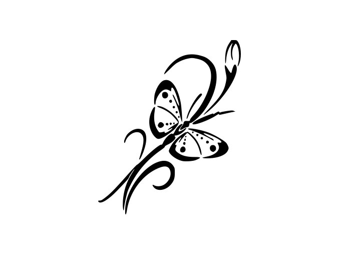 Samolepka - Květina a motýl