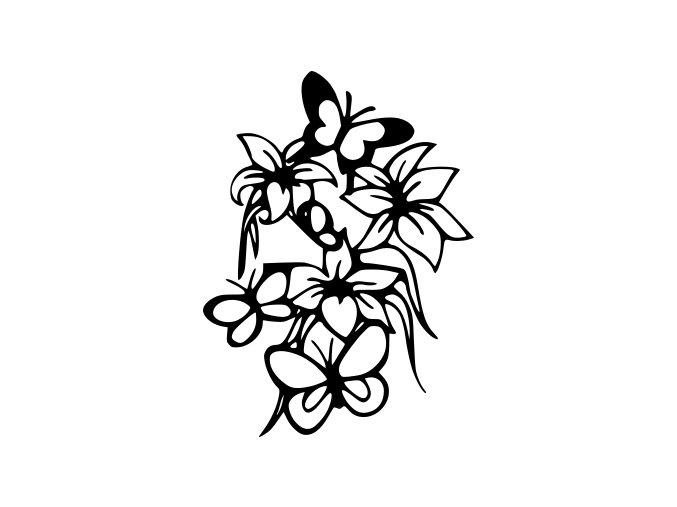 Samolepka - Květiny a motýli