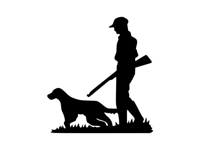 Samolepka na auto - Myslivec se psem
