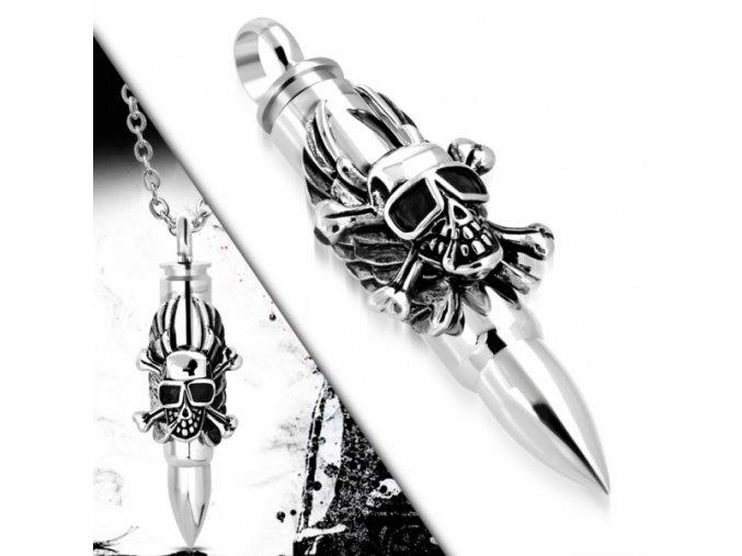 """<img src=""""www.gravon.cz/přívěšek.jpg"""" alt=""""Přívěšek z chirurgické oceli - Skull Bullet SPK195T"""">"""