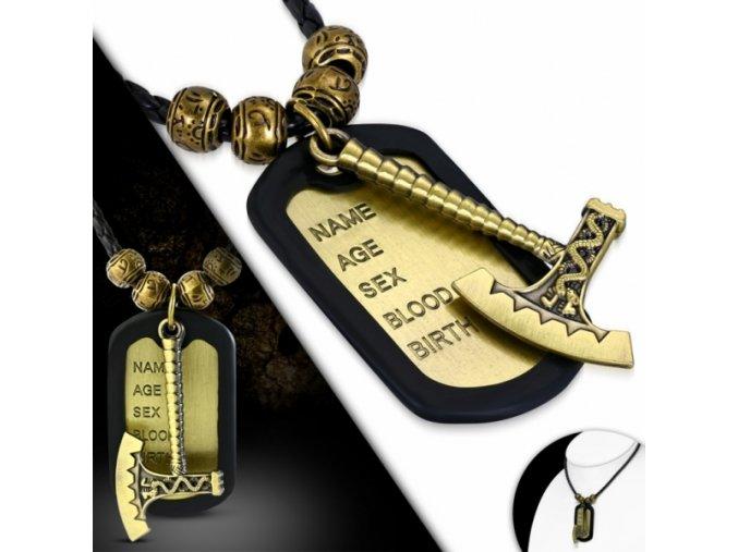 """<img src=""""www.gravon.cz/nahrdelnik.jpg"""" alt=""""Pánský Kožený náhrdelník Sekera a Bali korálky"""">"""