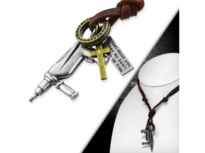 """<img src=""""www.gravon.cz/nahrdelnik.jpg"""" alt=""""Pánský kožený náhrdelník - Vrtačka stříbrná"""">"""