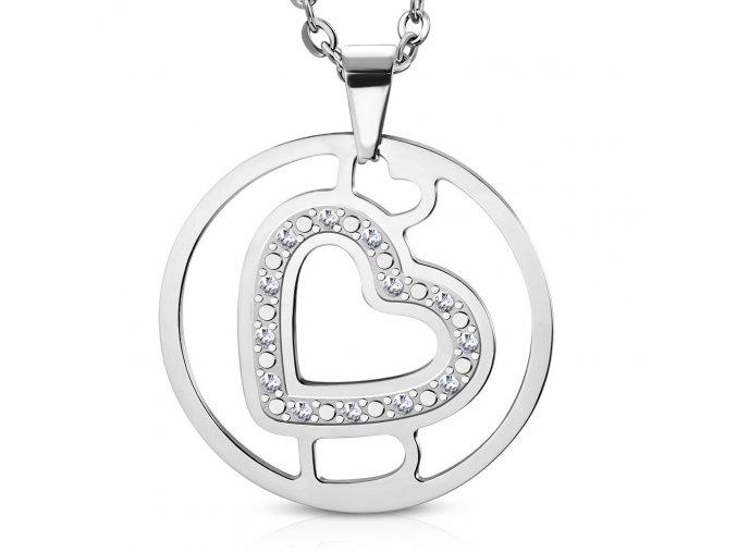 Přívěsek kruh se srdcem chirurgická ocel