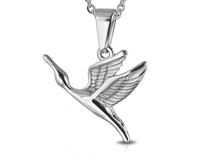Přívěsek letící jeřáb chirurgická ocel
