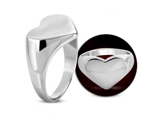 Prsten s plochou ve tvaru srdce chirurgická ocel RMT729