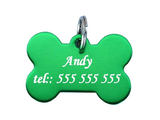 psí známka kost zelená