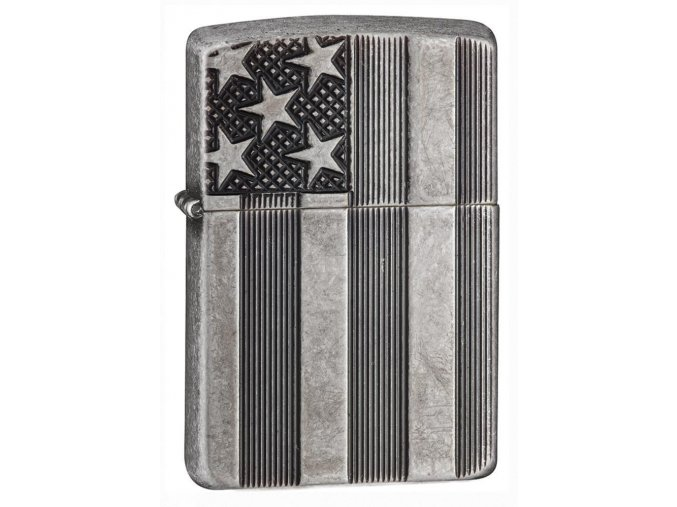 Zapalovač Zippo U.S.FLAG ARMOR ANT.SLV. 27119