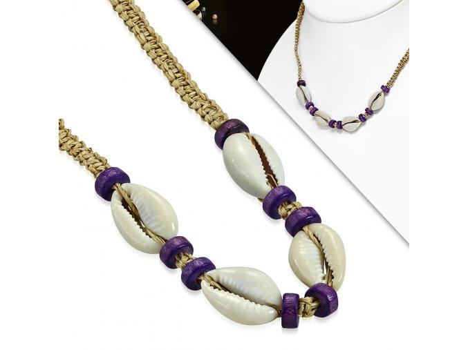 Splétaný náhrdelník přírodní s mušličkami