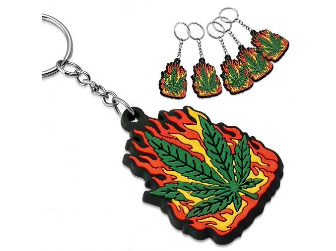 Gumová klíčenka Marihuana v plamenech