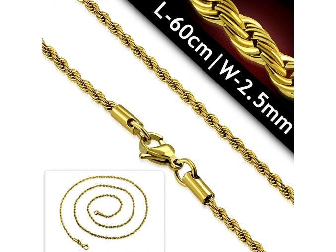 Řetízek pletený chirurgická ocel zlatý CTX061