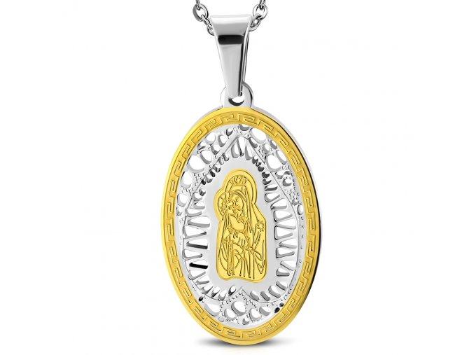 Přívěsek medailonek Panna Marie stříbrno- zlatý chirurgická ocel PCR682