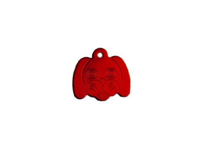 Známka pro psa ve tvaru psí hlavy - červená
