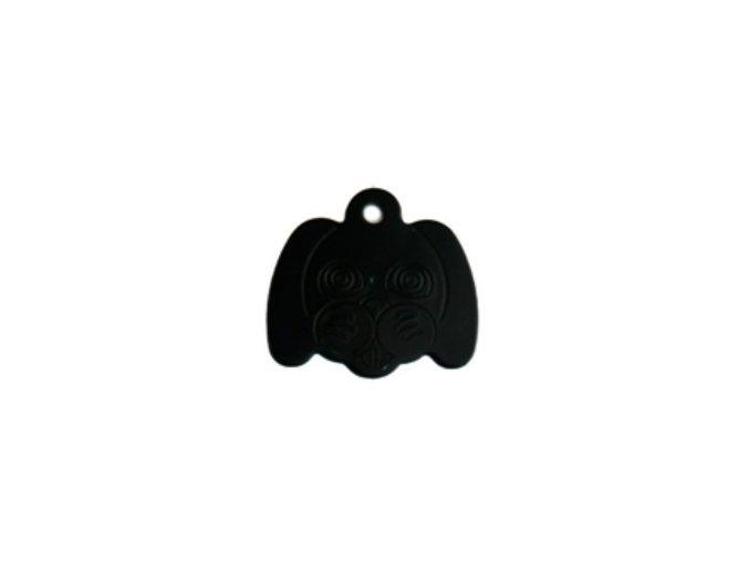 Známka pro psa ve tvaru psí hlavy - černá