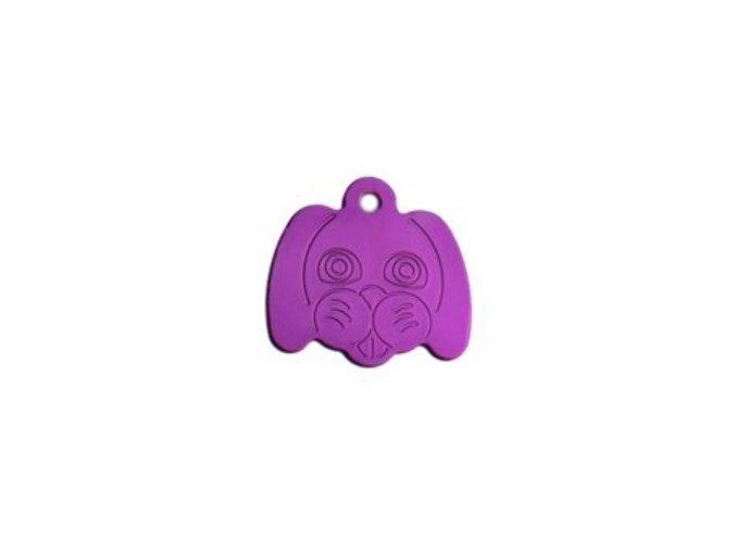 Známka pro psa ve tvaru psí hlavy - fialová