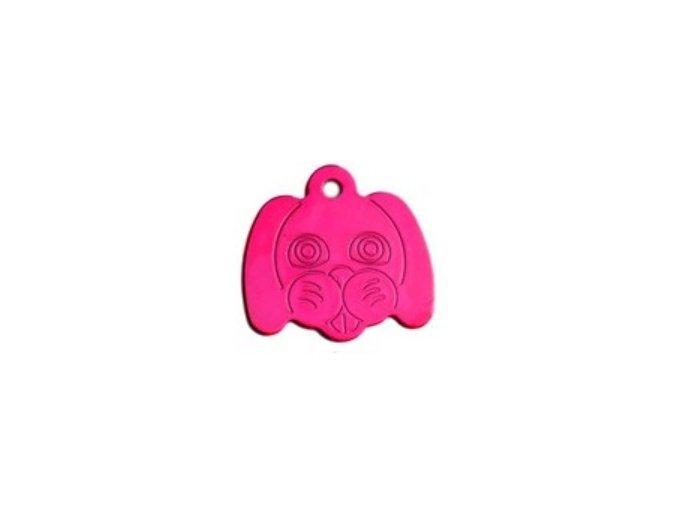 Známka pro psa ve tvaru psí hlavy - pink