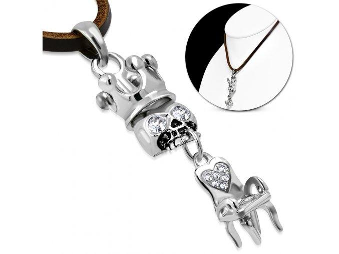 Pánský kožený náhrdelník s lebkou v královské koruně