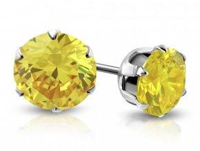 Náušnice žlutý krystal XRY116