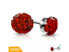 Náušnice puzetky červený krystal XRY125