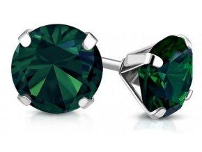 Náušnice s tmavě zeleným krystalem AEH075