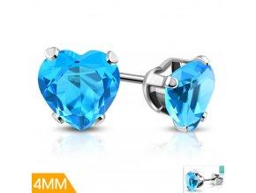 Dětské náušnice s modrým krystalkem XRY652