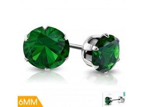 Dětské náušnice se zeleným krystalem XRY544