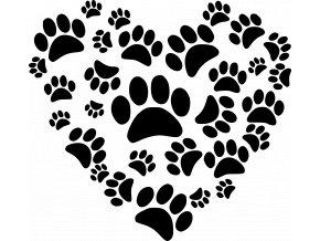 Samolepka - Srdce z psích tlapek