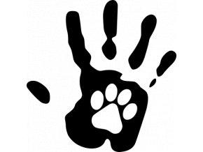 Samolepka - Obtisk psí tlapy a ruky