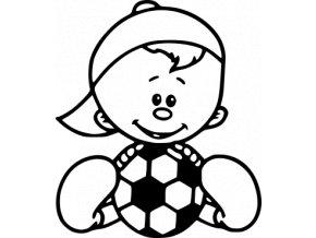 Samolepka - Fotbal - kluk sedící fotbalista