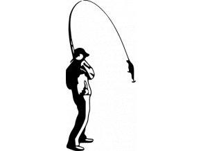 Samolepka - Rybář s návnadou