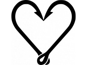 Samolepka - Rybářské háčky Srdce